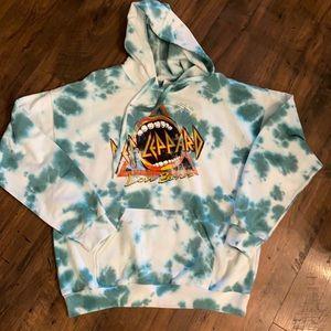Def Leopard love bites Tye die hooded sweatshirt
